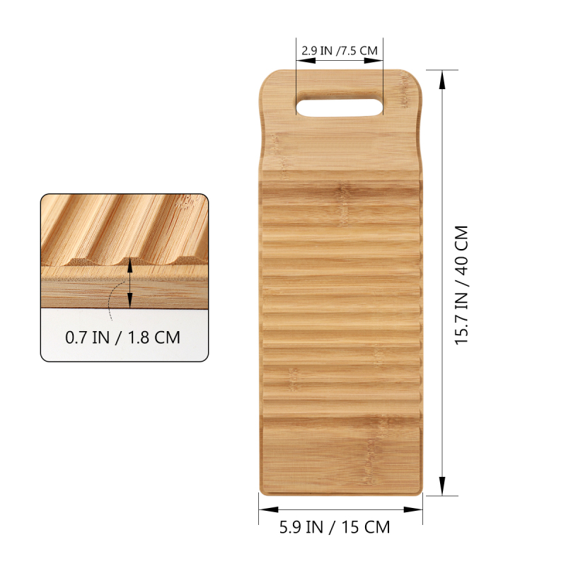 40cm TOPBATHY Wood Washboard Practical Clothes Bamboo Washboard Anti-slip Laundry Cleaning Board Manual Clothes Washing Tool for Home School