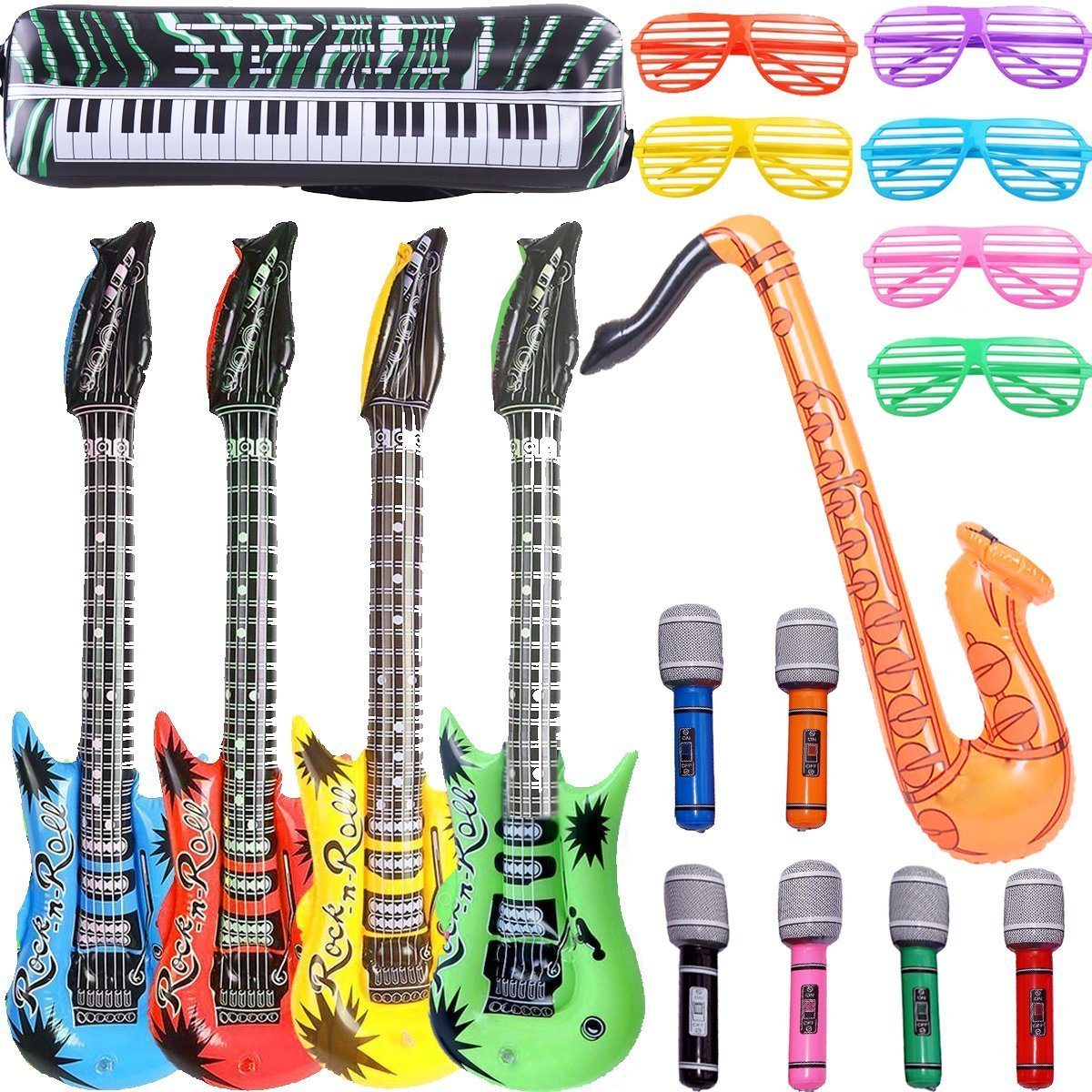 18x Inflatable Music Instruments Guitar//Microphone//SAXOPHONE COLOURFUL BLOW UP