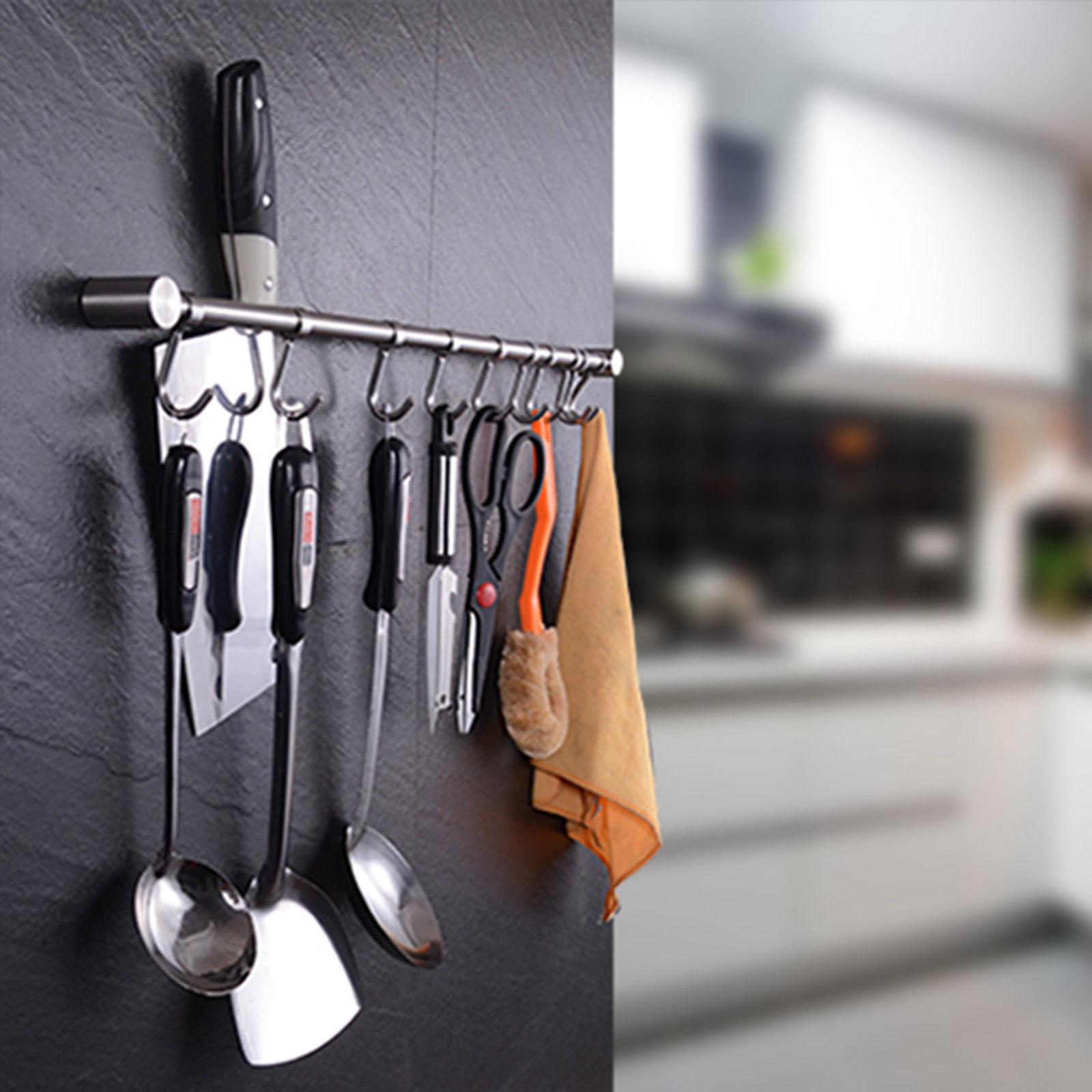 storage holder Kitchen Wall Mounted Chrome Hanging Rail Utensils Rack Storage Holder w/ Hooks