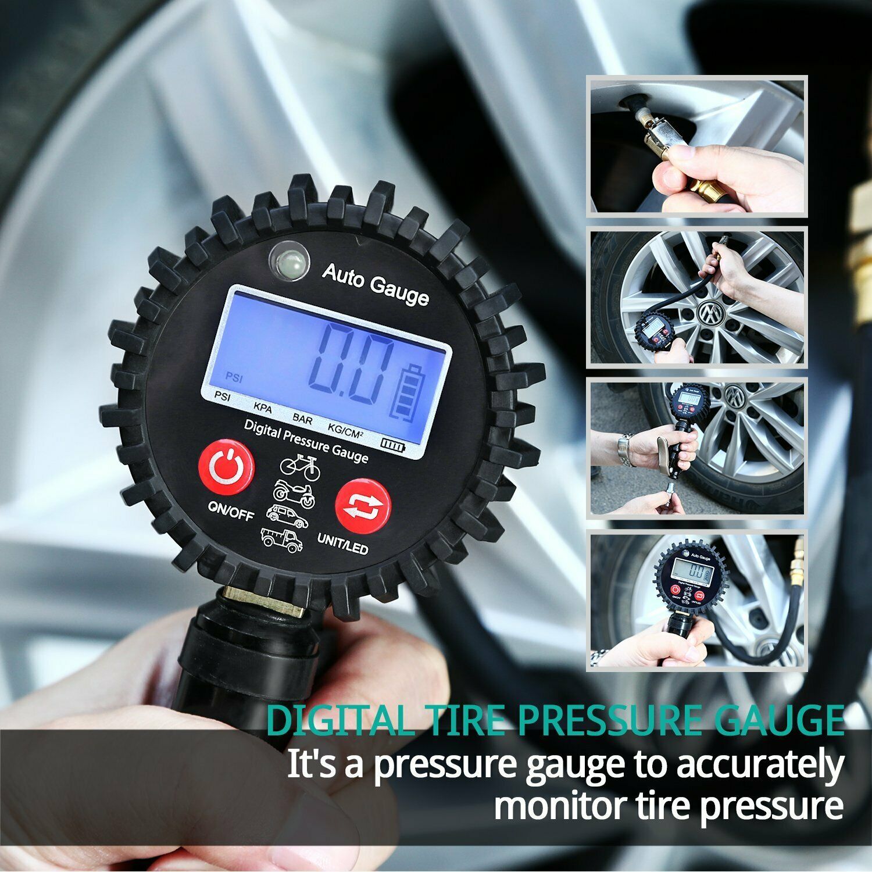 Digital Reifendruckmessgerät geeicht Luftdruckprüfer Reifenfüller Manometer Auto