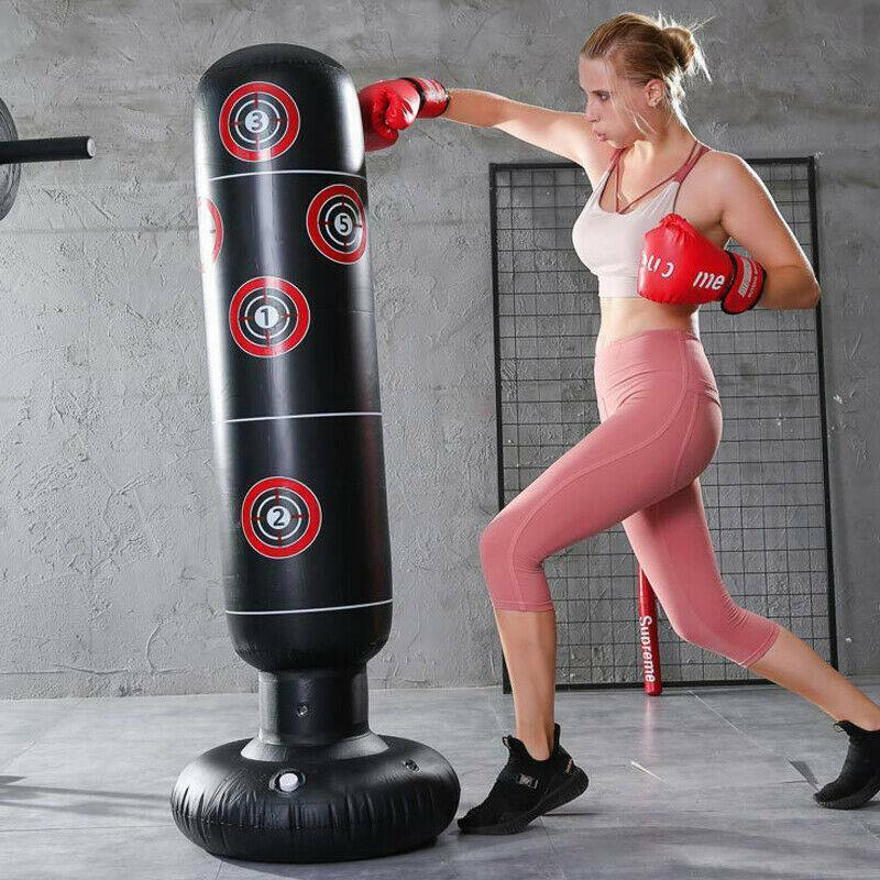 Inflatable Heavy Boxing Bag Fitness Punch Bag,Inflatable Punching Bag,Free-standing Target Stand Tumbler Black for Children Adults Sandbag with Foot Air Pump 1.6M