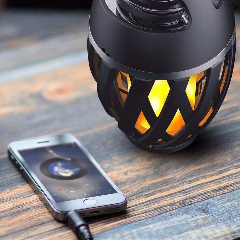 LED Fackel Flammen Effekt Lampe mit Bluetooth Lautsprecher Wasserdicht IP65   eBay