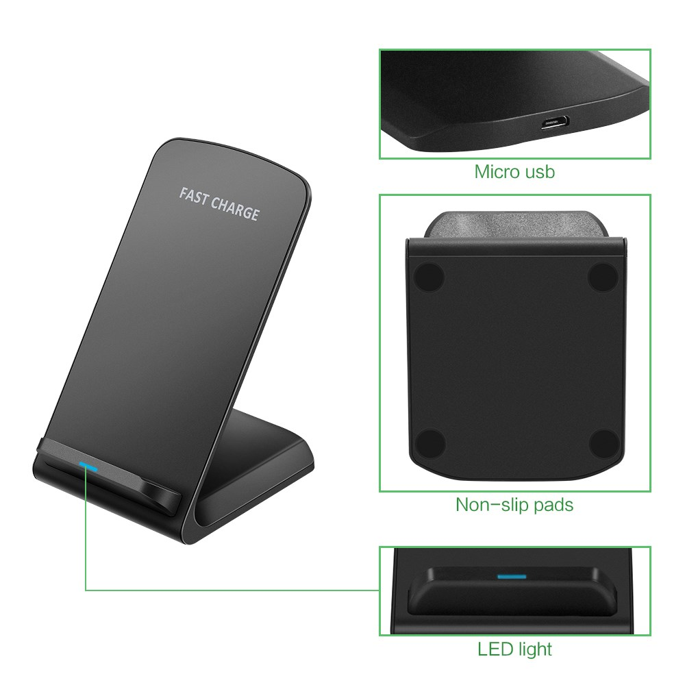 10w qi induktive schnell ladestation quick charger f r iphone x 8 samsung s9 s9 ebay. Black Bedroom Furniture Sets. Home Design Ideas