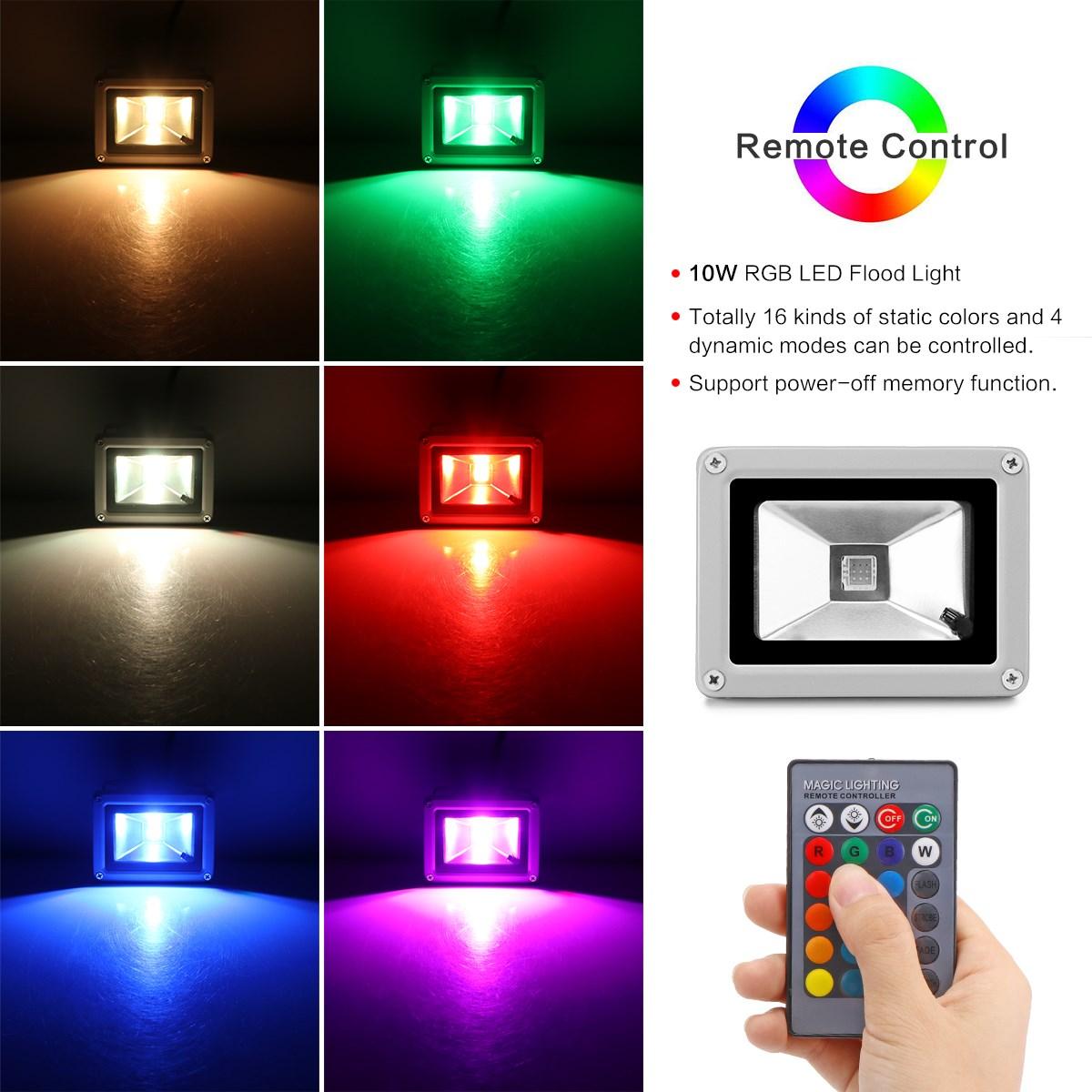 1//2//4//10 10W RGB LED Flood Light Spotlight Outdoor Garden Lamp Waterproof/&Remote