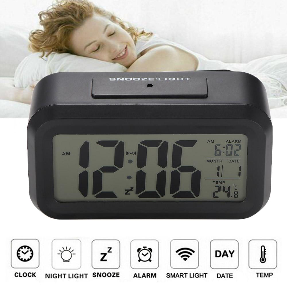 LED Wecker Alarm Digital Alarmwecker Uhr Kalender Beleuchtet Schlummerfunktion