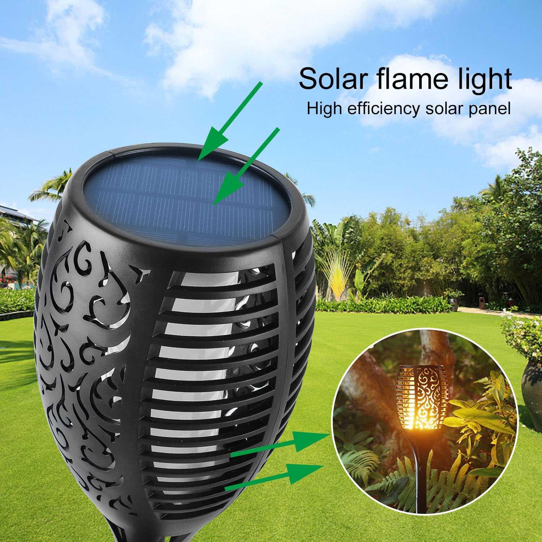 4x 96 LEDs Solarfackel Garten Licht flackernd Flammenimitation Gartenfackel IP65