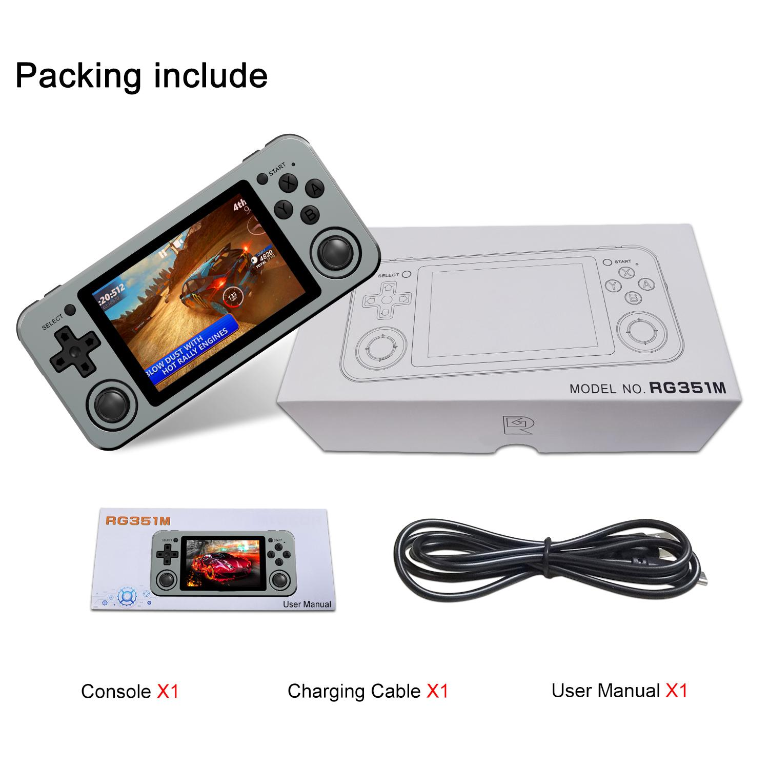 Merkts RG351P Retro Game Console,Portable Open Source System Video Game Handheld 3.5-inch IPS Screen Game Console,English Version 64G,Black