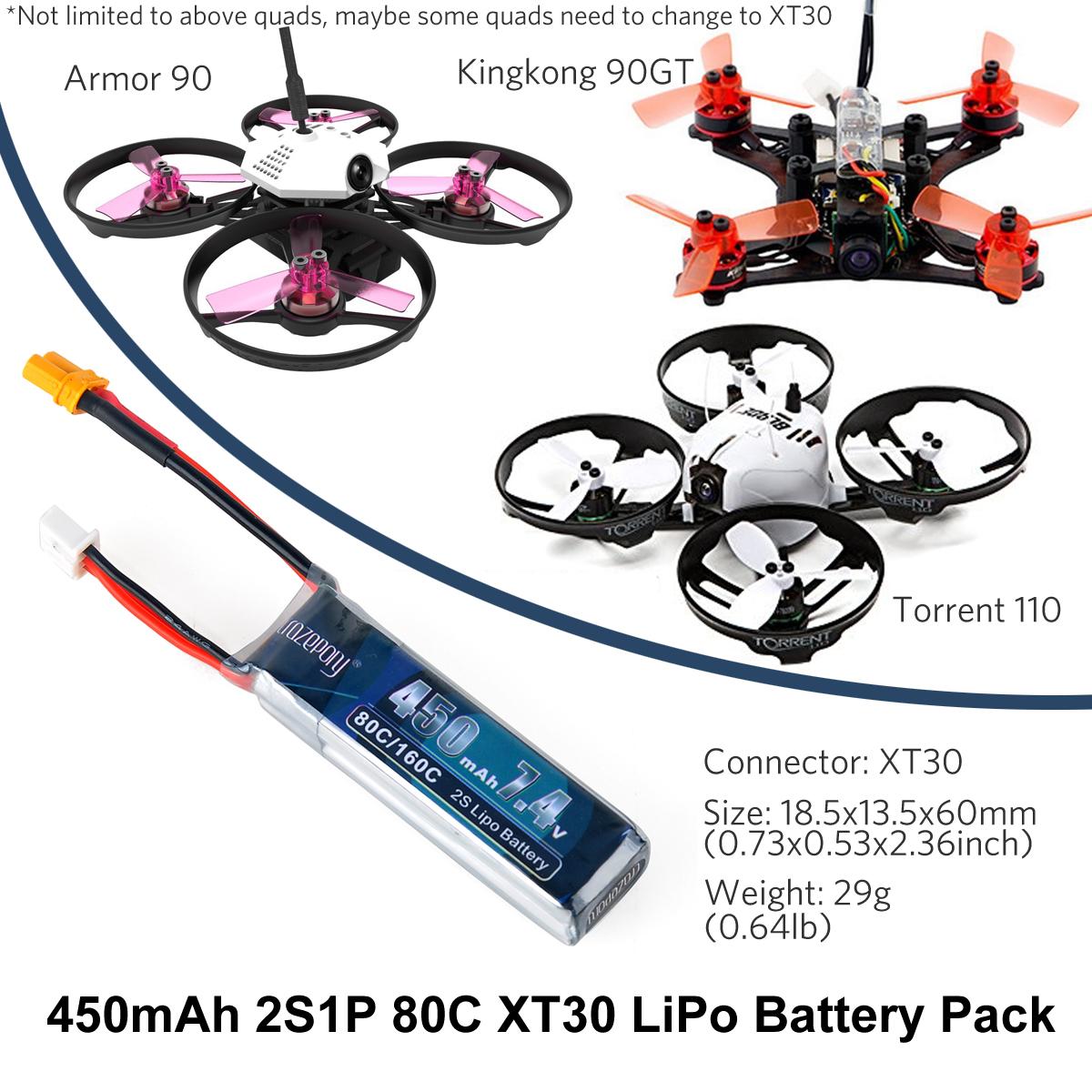 4 Stück 450mAh 7,4V LiPo Akku 80C 2S mit XT30 Stecker für Micro FPV Racing Drone