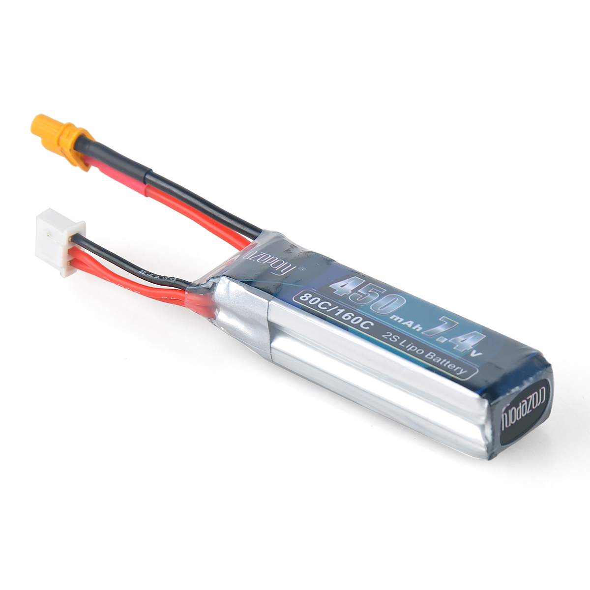 2x 450mAh 2S 7.4V LiPo Battery Packs XT30 Plug for Micro FPV Racing RC Drone Toy