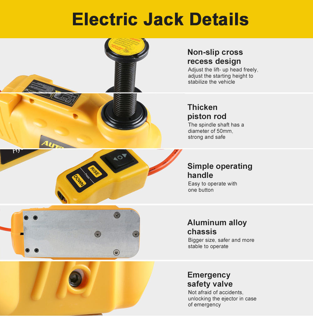AUTOOL 5T Portable Hydraulic Electric Floor Jacks 12V Car ...