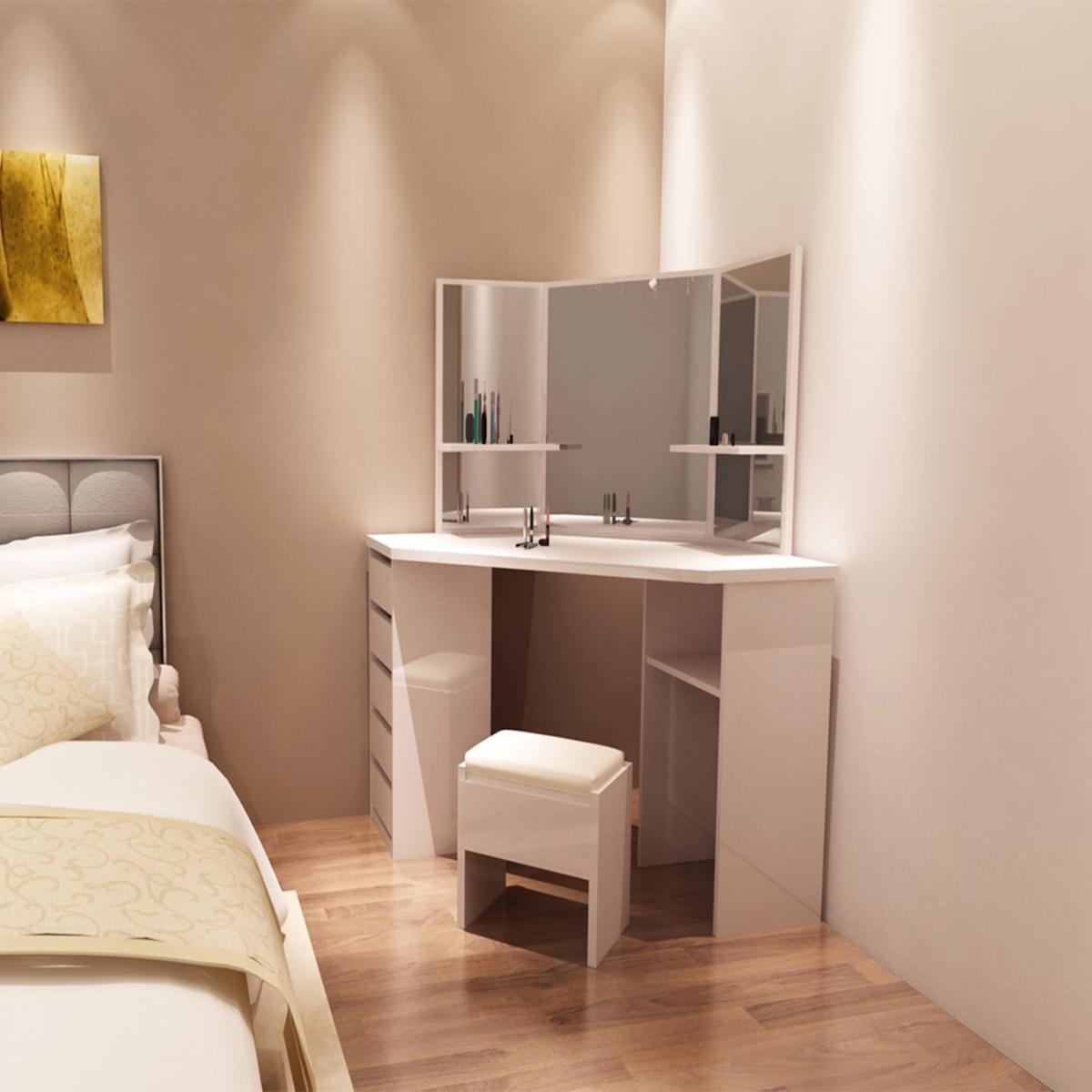 white corner dressing table 3 vanity mirror set dresser. Black Bedroom Furniture Sets. Home Design Ideas