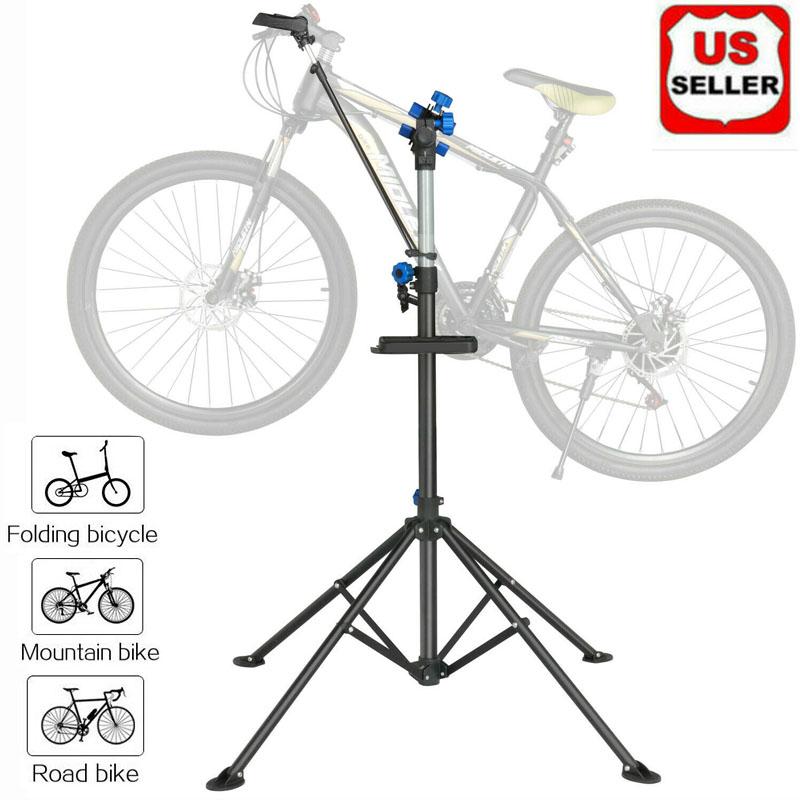 Adjustable Bicycle Bike Repair Stand Folding Cycle Maintenance Mechanic Station